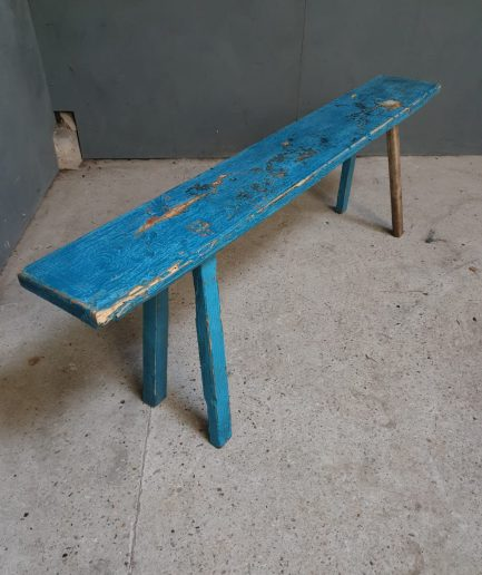 Oude bank brocante blauwe sitetable (1)