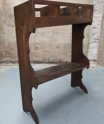 Antique grocer's cupboard, wooden rack, side table
