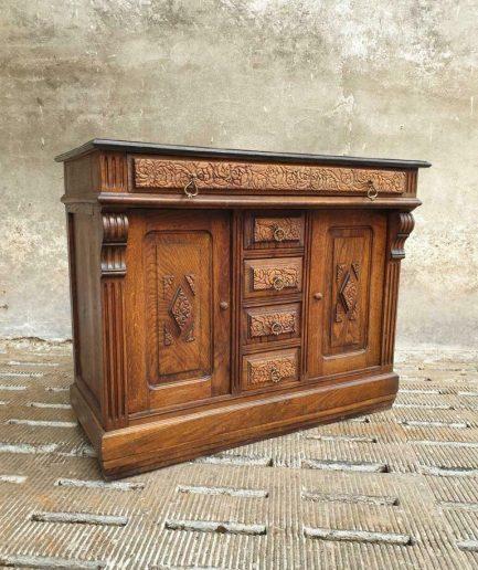 Antiek dressoir kast eikenhout Jugendstil (1)