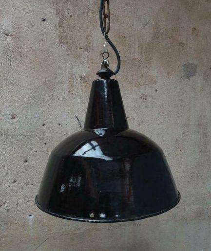 Antieke lamp zwart emaille (1)