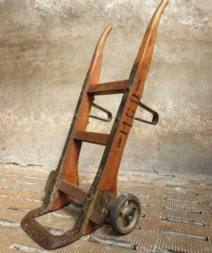 Industriële steekkar ladder eiken salontafel (1)