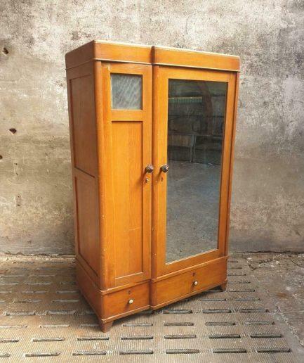 Oude kledingkast Art Deco eiken met spiegel (1)