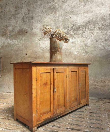 Oude winkelkast beuken laboratorium kast balie (1)