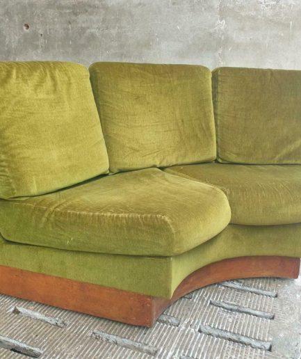 Vintage vloerbank loveseat groen jaren 50 loungebank (1)