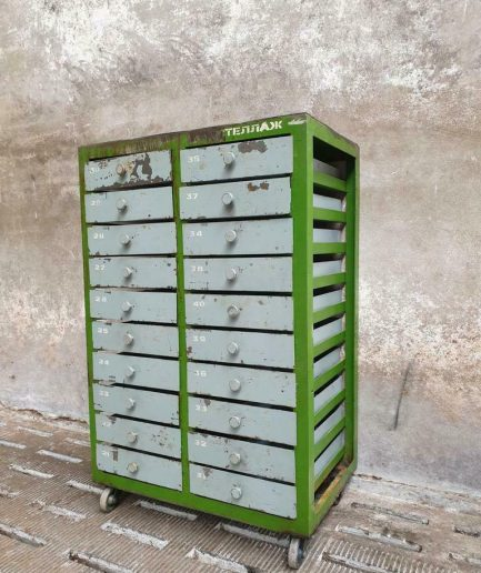 Industrial chest of drawers trolley gray green kitchen cabinet