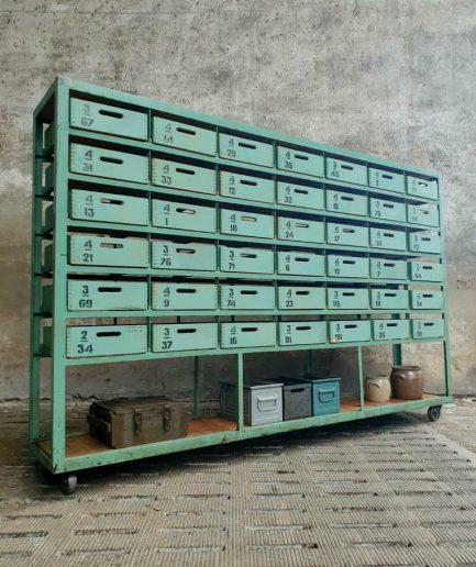 Industrial chest of drawers wall cabinet green shop cabinet on wheels
