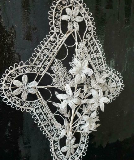 Antique glass beaded wreath from France