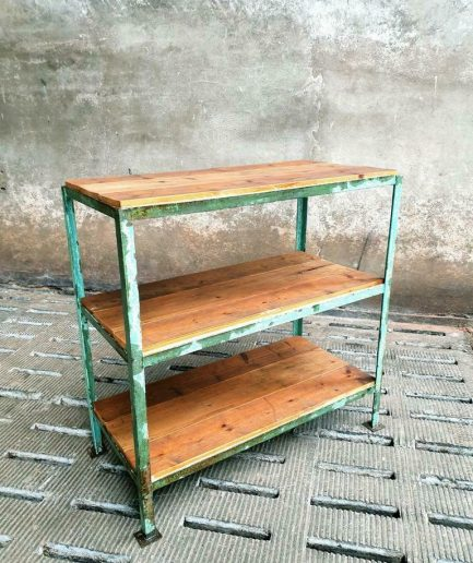 Industrial shelving unit bathroom furniture blue-green with wood