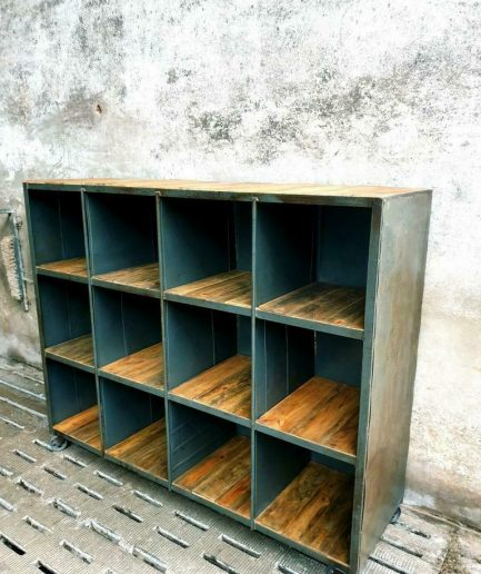 Industrial compartment cabinet steel with wood on castors