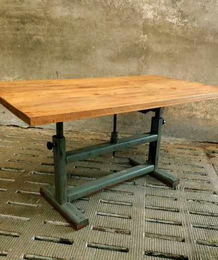 Industrial beech table on a workbench frame