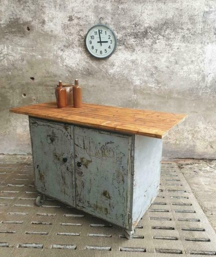 Industrial workbench trolley kitchen island bar table