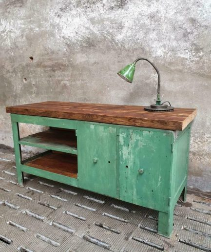 Old steel workbench with wood sideboard or kitchen island