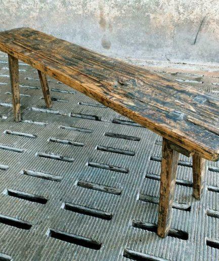 Antieke houten bank sidetable 150 cm (1)