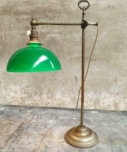Antieke lamp bureaulamp koper met groen glas (1)