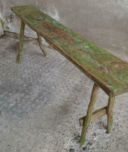 Brocante houten bank, sidetable groen (1)