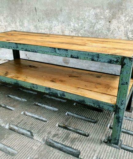 Industrieel tv meubel sidetable staal met hout (1)