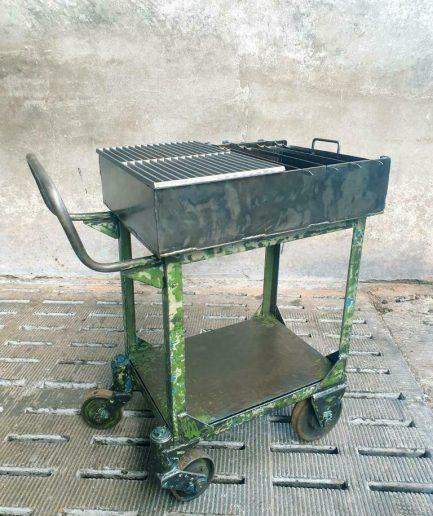Industriële BBQ trolley stalen tuinmeubel (1)