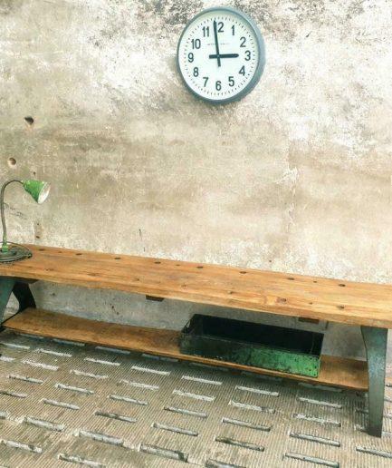 Industriële sidetable tv meubel gietijzer met teakhout (1)