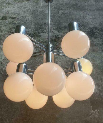 Retro designlamp Kaiser leuchten chroom met glas (1)