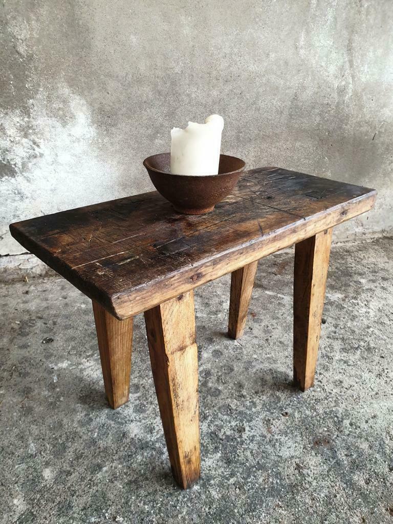 Vintage houten bankje, krukje, sidetable (1)