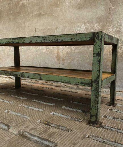 Industriële sidetable tv meubel staal met hout grijsgroen (1)
