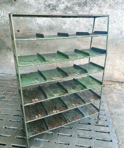 Industriële stellingkast schoenenkast groen staal (1)