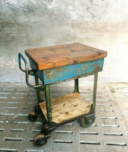 Industrial trolley garden furniture sidetable
