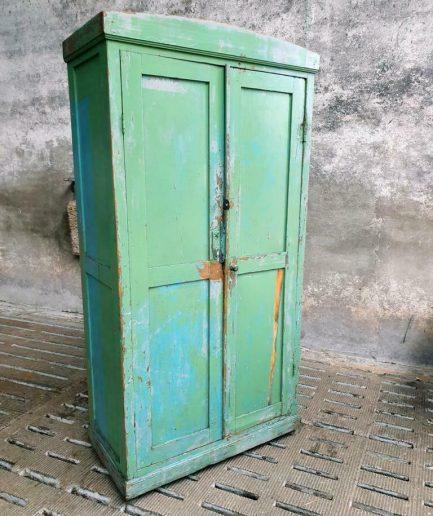 Old locker cabinet wardrobe green and blue