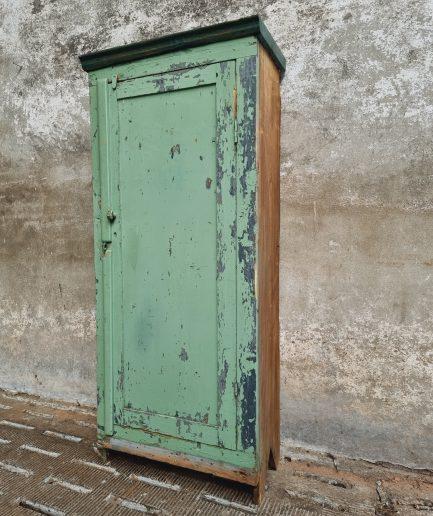 Oude houten lockerkast werkkast groen (1)