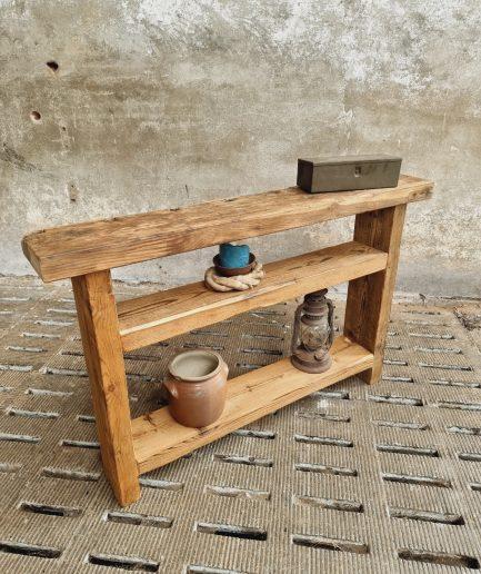 Oude landelijke sidetable grenen en eiken (1)
