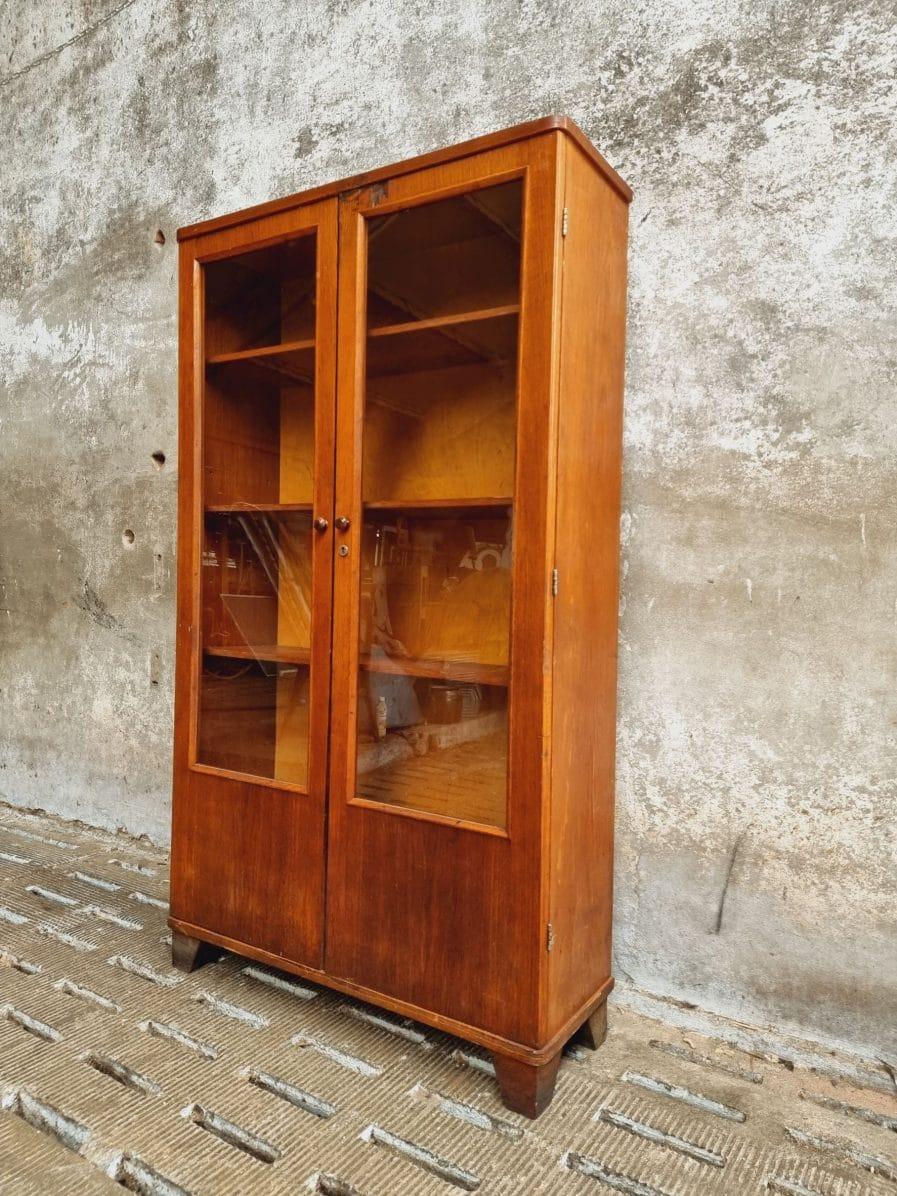 Oude vitrinekast apothekerskast eiken (1)