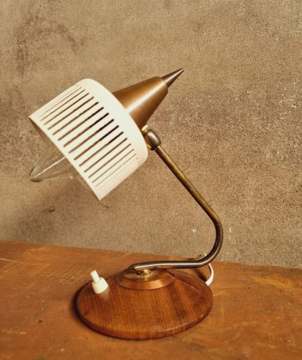 Retro designlamp tafellamp teak bureaulamp 60s (1)